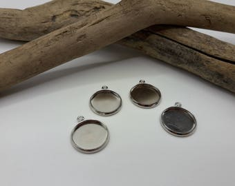 10 supports cabochon 14 mm - set of 10 pendants - medium silver - colored brass cabochon A196