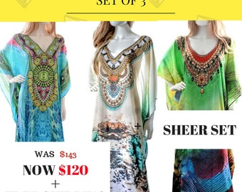 Caftan SET OF 3 kaftans caftan DRESS embellished gorgeous set !!
