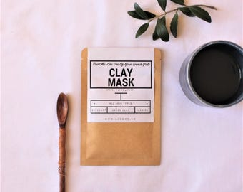 Green Detox Facemask / Detox & Clarify Skin with Organic Clay Blend / Acne Treatment /  Natural Skincare Handcrafted in Australia