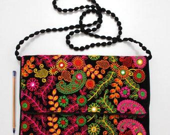 Handmade Ethnic Designer Tribal Banjara Patchwork Embroidered Hippy Fashionable Stylish Trendy Hippie Gypsy Boho Bohemian Clutch Bag F304