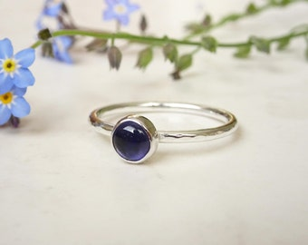 Silver Iolite Ring - Silver Stacking Ring - Blue Stone Silver Ring - Iolite Sterling Silver Ring