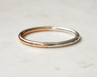 Rose Gold Ring - 9ct Rose Gold and Silver Stacking Ring - Silver Ring- Rose Gold Stacking Ring - Mixed Metal Ring - Two Colour Band