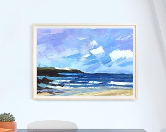 Oil painting art Sea Winter Ukraine Valentine's day present Gift for Him Drawing small size Original painting art canvas sale gallery framed