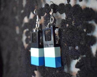 Handmade Window LEGO earrings *Black and Blue