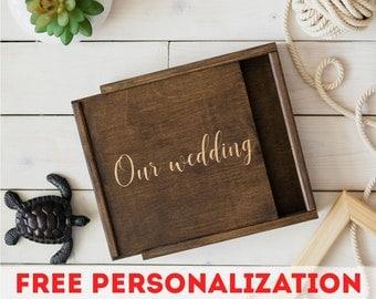 "Wedding Memory Wood Photo Box 4""x6"" 5x7 6x8 (10x15 cm 13x18 15x20) Pic Usb, Engraved Personalized Keepsake Box, Valentine Day, boite en boi"