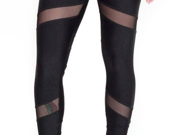 Black legging with mesh inserts