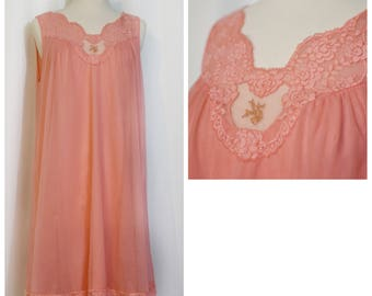 Vanity Fair Coral 60s Babydoll Nightie