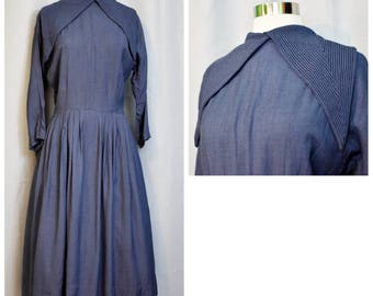 50s Blue Sailor Collar Dress