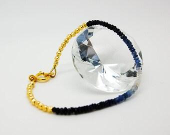 Blue ombre Sapphire gold bracelet, ombre sapphire silver bracelet, gold sapphire bracelet, silver Sapphire bracelet, Gold bead bracelet