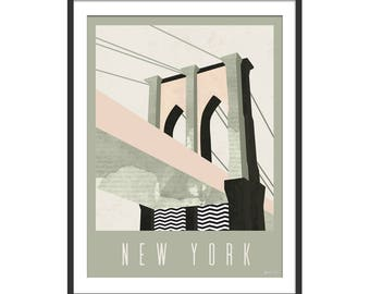 Brooklyn Bridge Art Print by Green Lili. New York Art Print. Brooklyn Bridge Print.  Wall Art. NYC Travel Print. Wall Decor.