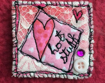 Textile brooch, freehand embroidery, heart brooch, OOAK, felt pin, fibre arts, applique brooch, brooch, pin, Woolly Felters, Judy Balchin,