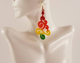 Lace earrings Multicolored earrings Painted earrings Lace jewelry Embroidered earrings Embroidered jewelry Colorful jewelry Colorful earring