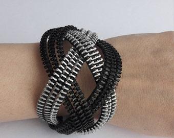 Black and white bracelet Knot bracelet Knotted bracelet Zipper bracelet Industrial jewelry Celtic bracelet love knot bracelet