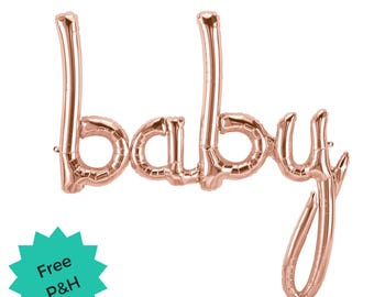 Rose Gold Baby Balloon Script Word Baby Shower Party Decoration Balloon Banner