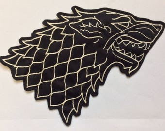 Hand Embroidered Stark Wolf Patch