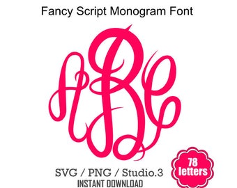 Fancy Monogram Alphabet SVG, Instant & Digital Download, For Silhouette and Cricut, Interlocking, DIY, Personal and Commercial Use