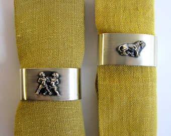 Germany / Zodiac / Pair Of Napkin Rings / Large / Silver Plated / Napkin Holders / Leo / Twins / Zodiac Gift / Set Of 2 / Oval Shape / BSF