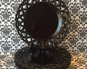 Westmoreland Glass Plates, Set/3, Forget Me Not, Black Lattice Glass, Reticulated Lunch Plates, Lace Edge Black Milk Glass