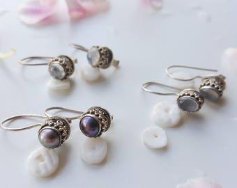 Moonstone Earring Moon Drops Black Pearl Drops Sterling Earring Small Round Earrings Oval Drop Earrings Gift For Her Intricate Earrings