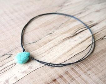 Turquoise Choker Necklace, turquoise jewelry, layered, adjustable, festival, hippie, beach, grunge, boho, bohemian, surf, surfer