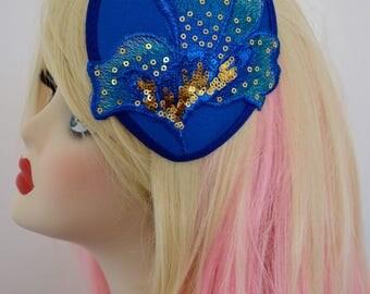 Pillbox Hat Fascinator Blue Bleu Sequins Millinery Bibi Fifties Flower