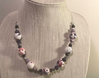Purple Necklace | Speckled Jewelry | Statement Necklace | Beaded Necklace | Everyday Necklace | One Strand Necklace | Purple and Pink