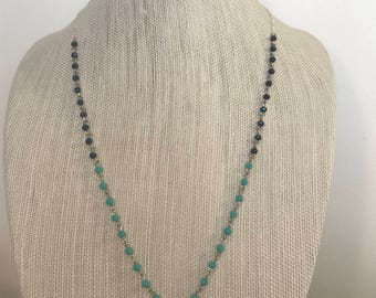 Chain Tassel Necklace | Beaded Chain Necklace | Turquoise & Navy | Tassel Necklace | Long Necklace | Layering necklace | Everyday jewelry