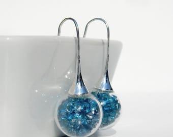 Glass globe earrings / peacock blue rhinestones
