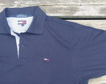 Vintage 90's Tommy Hilfiger Made in USA dark blue golf polo shirt