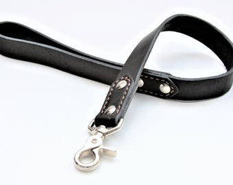 "Dog Leash ""Traffic"" Genuine Leather (Black)"