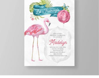 Flamingo Birthday Invitation Template | Let's Flamingle Party Invite Printable | Instant Download | DIY | Fully Editable | Templett #046GBD