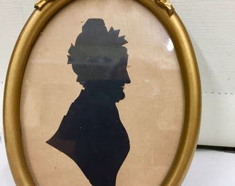 Antique Silhouette Miniature Portait circa 1850
