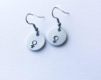 Female symbol earrings, feminist earrings, feminist gift, feminist jewelry, girl power, venus symbol, female symbol, Gift for her