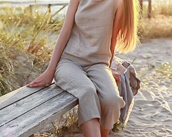 Linen Pajama Set, Linen Pajama for Woman, Natural Linen Pajama Set , Women's Pajama Set with Pants, Linen Pajama Pants, Grey Linen Pajama
