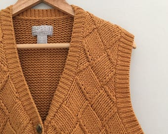 Items similar to Vintage Mustard Yellow Women's Sweater Vest on Etsy