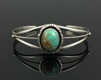 Turquoise Sterling Shadow Box Cuff Bracelet Native American Traditional Navajo