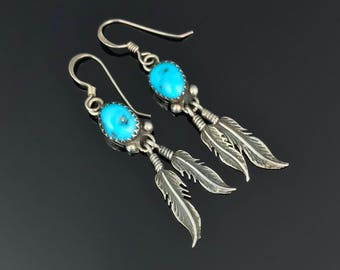 Turquoise Squash Blossom Earrings Sterling Silver Native American Navajo