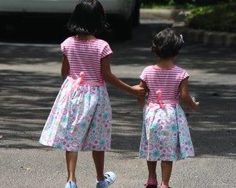 2T, 3T, 5t Size Girls Dress, Girls Ready to Ship Dress, Girls Pink and White Dress, Girls Summer Dress