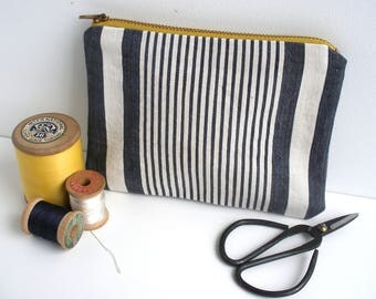 Vintage Ticking Pouch, French Ticking Pouch, Stripy Zipper Pouch, Yellow Zip Pouch, Modern Rustic, Gift for Her, French Country, Makeup Bag