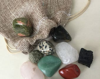 Asorted tumbled crystal stone-10 polished crystal & stones - healing-beginner collectors- for altar or sacred space-craft supply