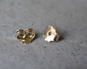 14k gold bracket, 14k gold earring stopper, 14k gold stud earrings, Gold clasp for stud earrings, A pair of  14k gold earring stopper