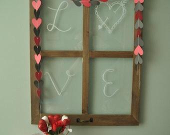 Heart String Banner, Heart Banner, Valentine's Day Banner, Valentine's Day Decor, Black and Red Banner, Sewn Paper Banner