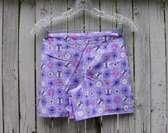 Children's Purple Flowers and Bees Pajama Shorts
