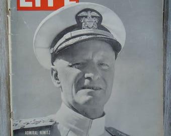 1944 Admiral Nimitz Life Magazine, Vintage Military, Navy Admiral, 1944 Life Magazine, Vintage Navy, USA Navy, Navy gift, Admiral Nimitz