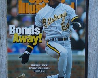 1992 Barry Bonds Sports Illustrated, Vintage Sports Illustrated, Vintage SI, Barry Bonds Pirates, Pittsburgh, Vintage magazine, Barry Bonds