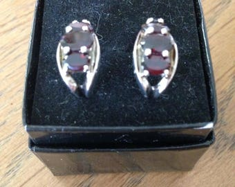 Red Garnet Sterling Silver Earrings