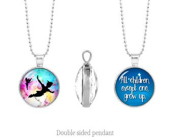 Peter Pan Double Sided Necklace All children except one grow up Peter Pan Two Sided Pendant Necklace