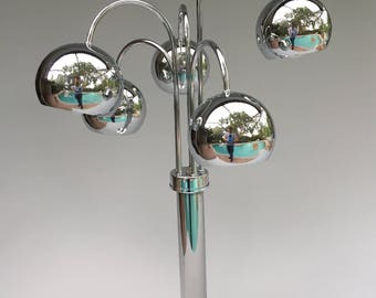 5 Arm Floor Lamp Chrome Eyeball Space Age Retro Vintage Mid