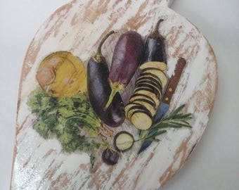 Kitchen board for cutting with aubergines, Cutting board with aubergines, Cutting boards, Decoration of kitchen with wooden board, Gift for