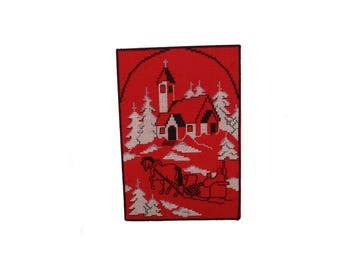 Sparkling vintage retro XL Christmas Wall hanging Board with handembroidered santa / elf / gnome & church. Made in Sweden Scandinavian.
